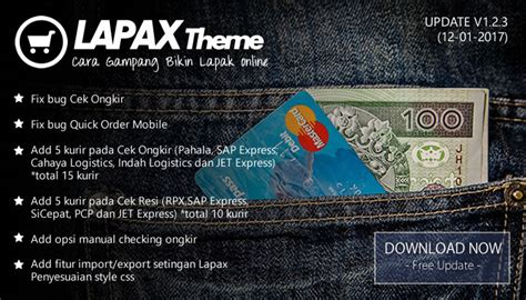 lapax theme update versi 1 2 3 cek ongkir fixed oketheme