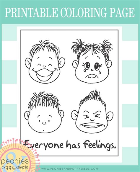 free coloring pages of faces of feelings