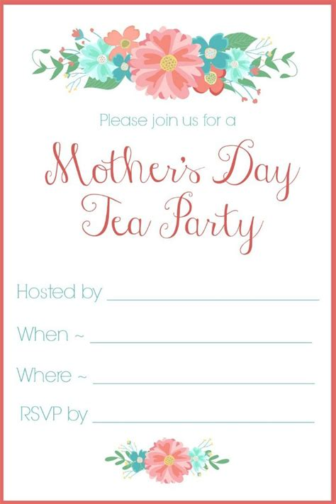 downloadable invitations uk mother s day tea party invitation free printables