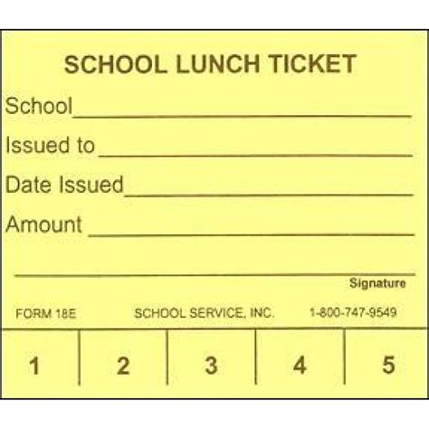 School Lunch Card Template by 18e 5 Punch School Lunch Ticket Punch Tickets