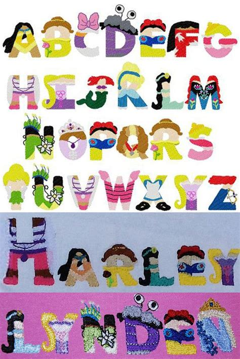 Disney Character Letter L Princess Embroidery Letters Disney Inspired Font Embroidery Design Instant Disney My