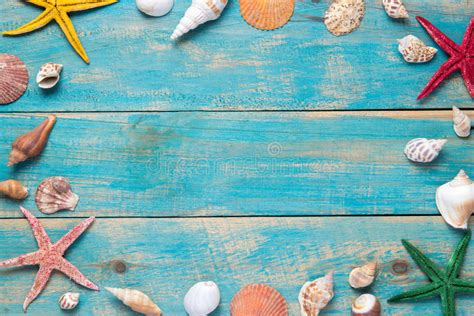 imagenes vintage mar c 225 scaras y estrellas de mar en fondo de madera azul copie