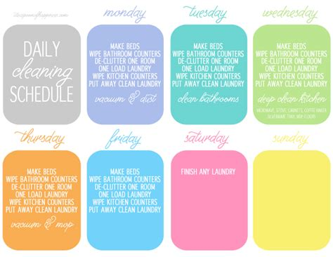 printable daily cleaning schedule daily cleaning schedule simply whisked