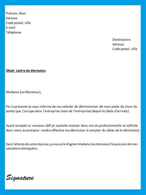 Exemple De Lettre De Démission Pour Un Autre Emploi Lettre De D 233 Mission