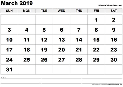 Calendar 2019 March March 2019 Calendar