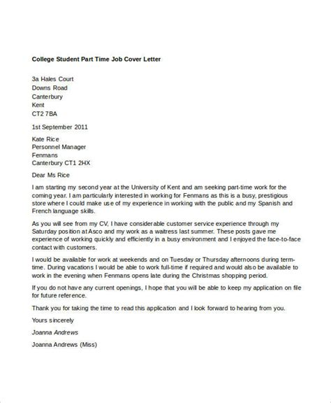 cover letter college student 8 part time cover letter templates free sle