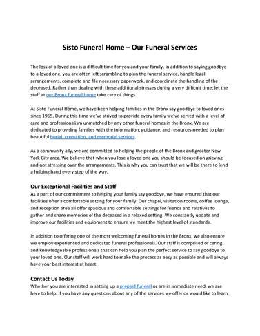sisto funeral home inc authorstream