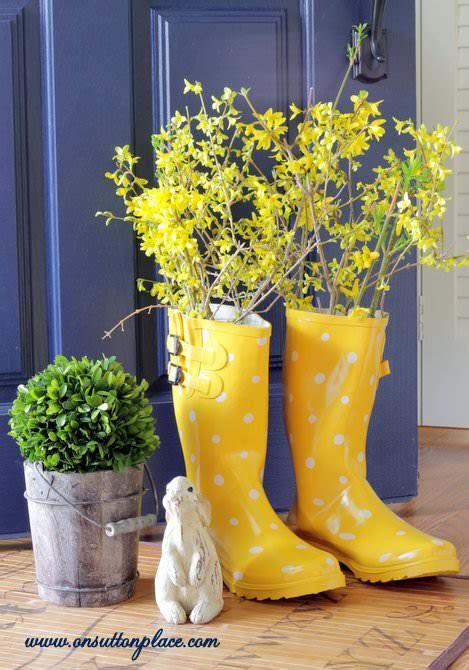 rubber boot decoration rain boot vase on sutton place