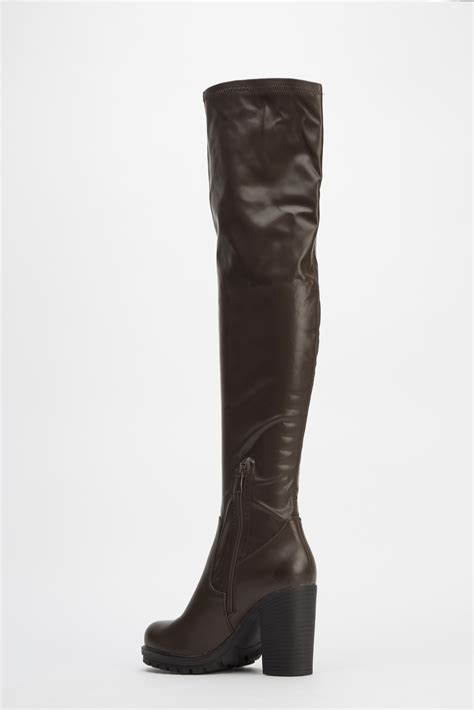 knee high brown boots brown faux leather knee high boots just 163 5