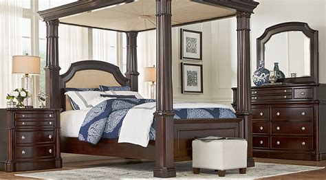 dumont cherry 8 pc canopy bedroom bedroom sets