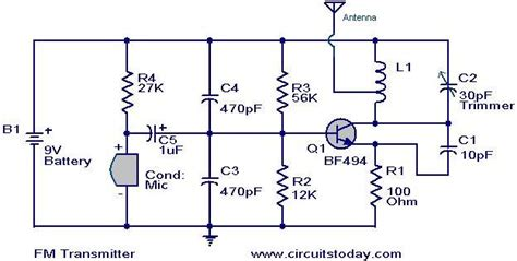 fm transmitter circuit using transistor simplest fm transmitter modulation circuit with bf494 radio frequency transistor