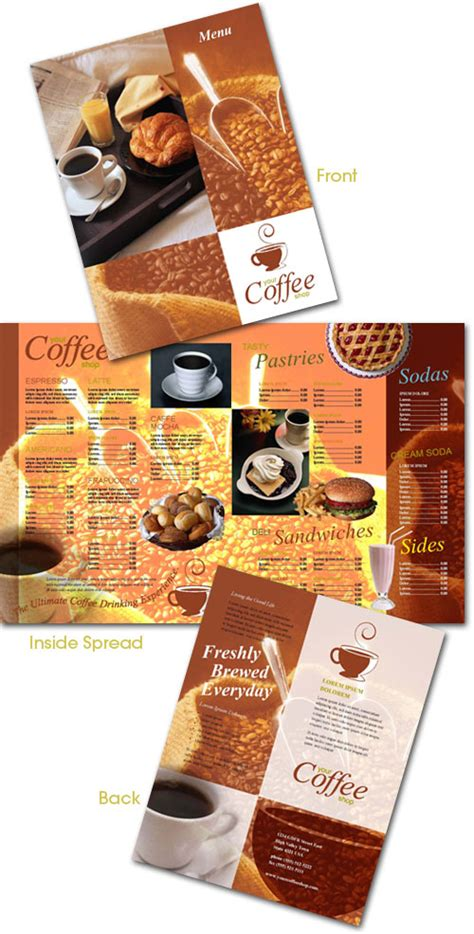 coffee shop menu template free a wonderful collection of restaurant brochures