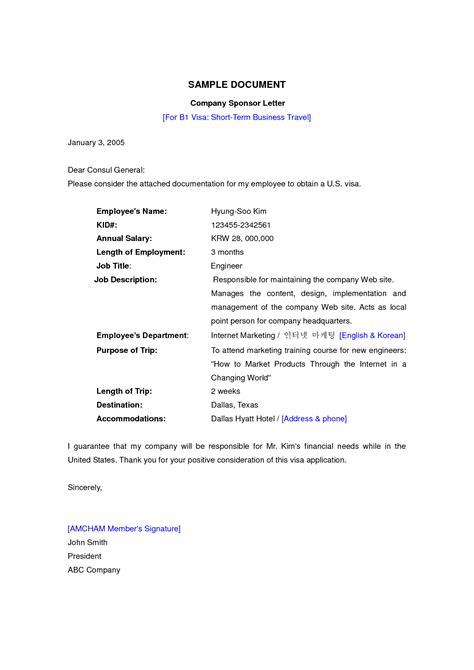 Sponsorship Letter Korean sle invitation letter for visit visa to korea image