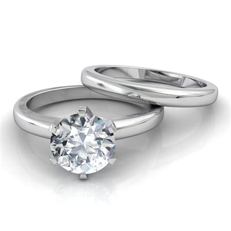Engagement Rings With Wedding Bands by Six Prong Solitaire Engagement Ring Matching