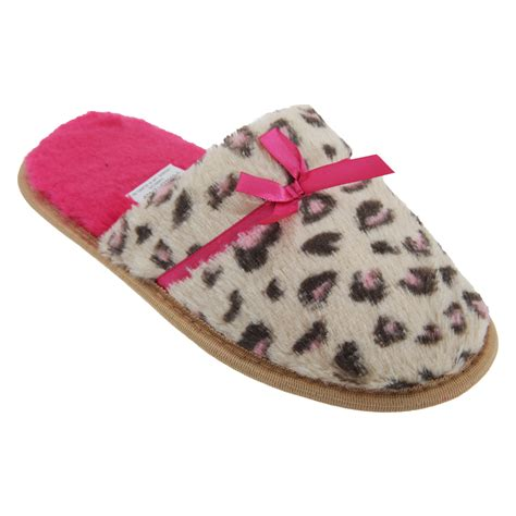 giraffe print slippers womens animal print slippers with bow detail ebay