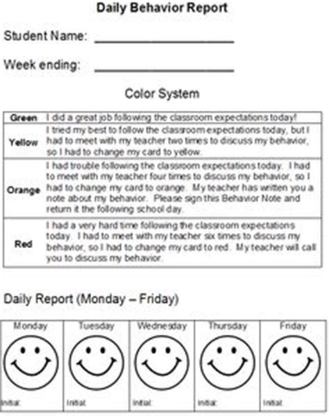 behaviour report card template daily behavior report daily behavior report behavior