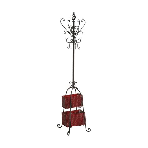 Coat Rack With Storage Baskets by Sei Metal Scroll Coat Tree With 2 Rattan