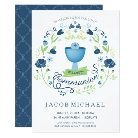 holy communion invitation card template holy communion invitation boy s invite card zazzle