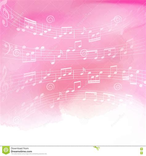 pink wallpaper note 5 music notes on watercolor background stock vector