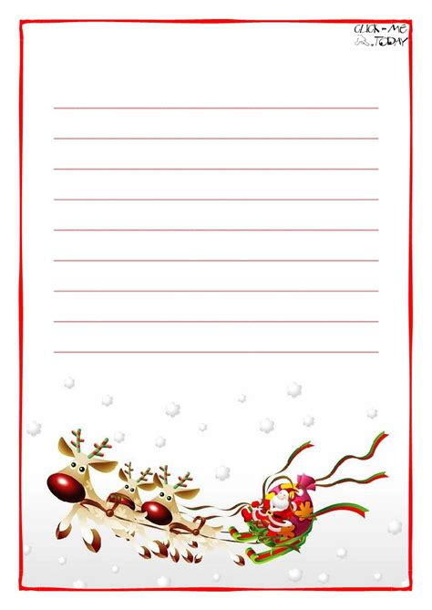 printable christmas note paper free printable letter to santa claus paper with lines sleigh