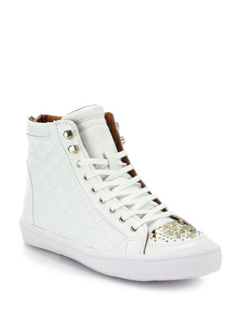 minkoff sandi perforated leather high top sneakers