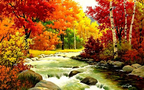 Arthur Wood Vase Autumn Fall Wallpapers River 2621 Wallpaper Walldiskpaper