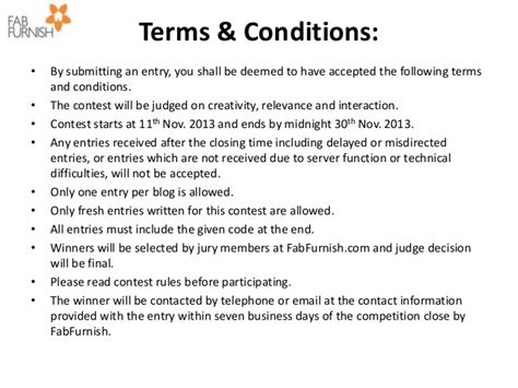 The Fab Blogger Contest Nov 2013 Sweepstakes Terms And Conditions Template