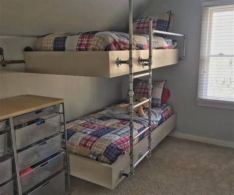 Floating Bunk Beds Boys Room Makeover With Floating Bunk Beds Www Meghantucker
