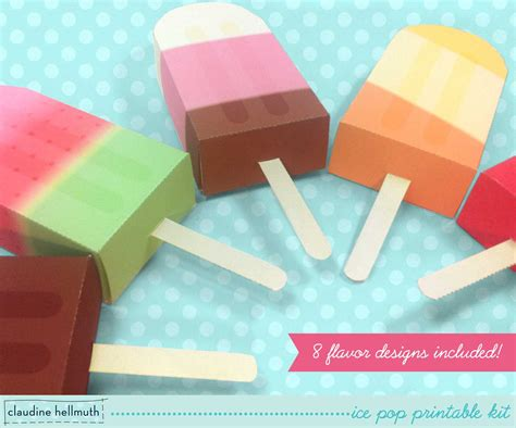 Gift Card Party Favors - ice pop party favor boxes and gift card holders printable