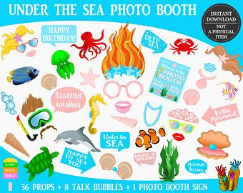 free printable under the sea photo booth props mermaid photo booth etsy