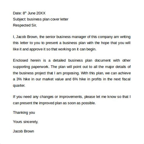 how to write a cover letter business plan
