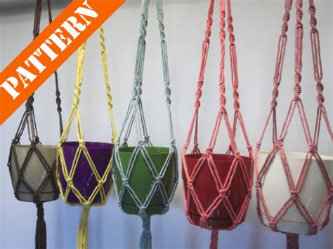 Macrame Patterns For Hanging Plants - pattern macrame plant hanger hanging planter flowerpot