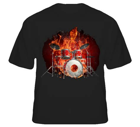 Drum Rock On Tshirt drummer on flaming rock drums t shirt