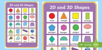 printable 2d shapes poster 2d and 3d shapes poster 2d shapes 3d shapes poster