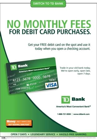 how to make purchases with a debit card td bank offers no monthly fee for debit card purchases