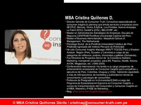 Mba Centrum O Esan by Tendencias Consumidor Cristina Qui 241 Ones Maestria De Mkt Esan