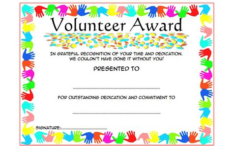 volunteer recognition certificate template outstanding volunteer certificate template 8 best 10