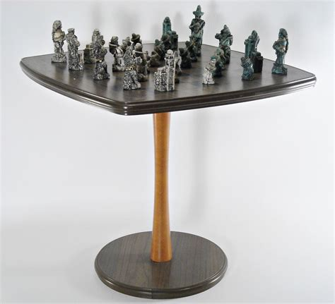 mid century chess table set modern by