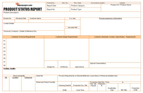 product report template product status report format