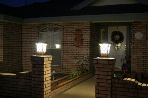 Patio Column Lights Solar Power Fence Post Pillar Column Light Lighted Landscape Home Porch Lights 1 Ebay