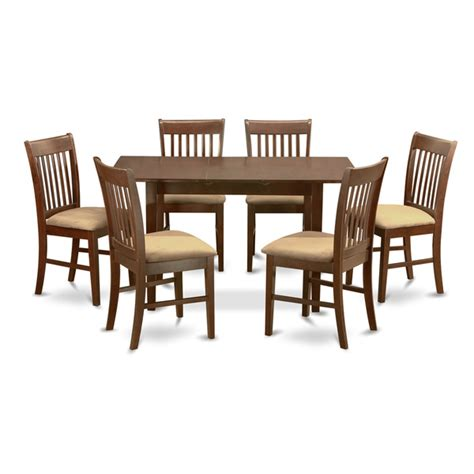 overstock dining room furniture mahogany leaf and 6 dining room chairs 7 piece dining set