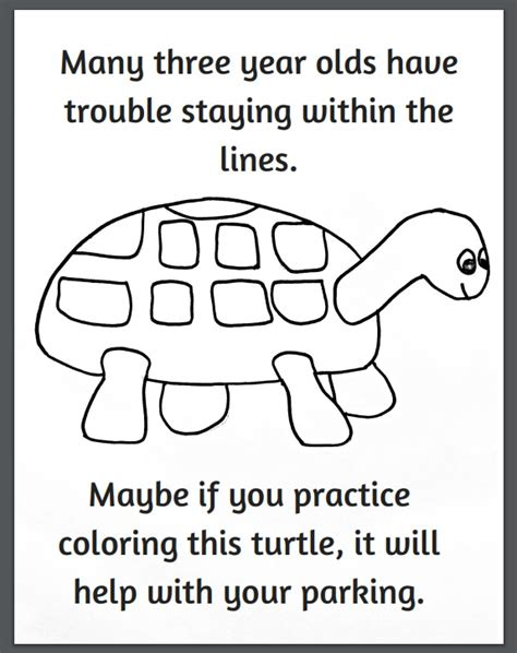 turtle coloring page bad parking funny turtle parking coloring page crafty morning