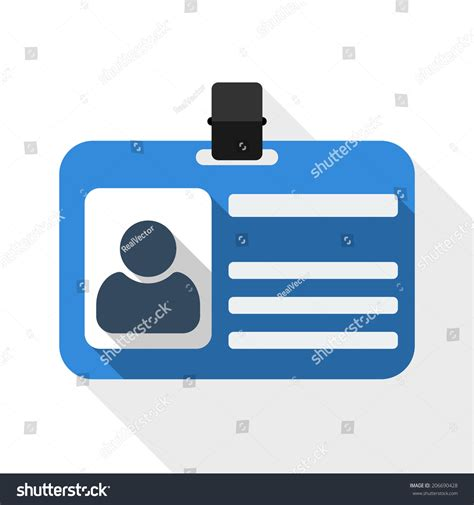 id card flat design identification card flat icon long shadow stock vector