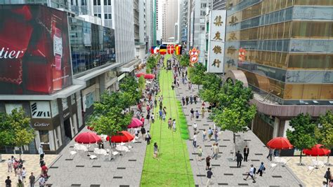 urban layout landscape features and pedestrian usage central pedestrian proposal hk heartbeat