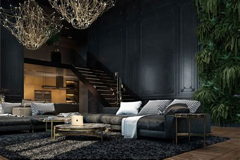 dark interior beautiful black interior showcased in a historic paris