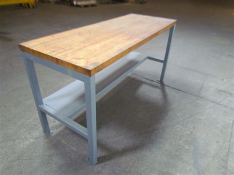 how tall is a bench welded steel industrial work bench w 1 3 4 quot butcher block top 26x68x35 3 4 quot tall