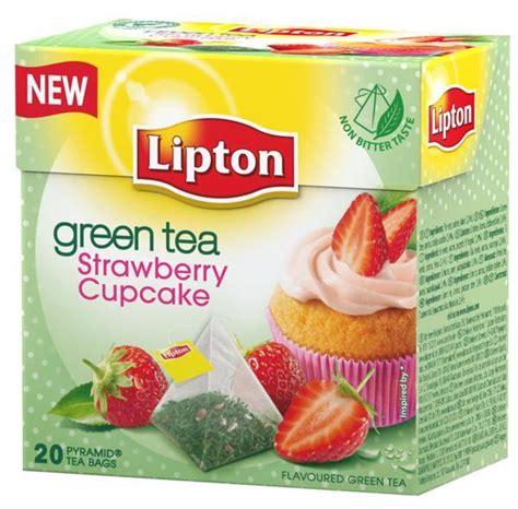 Teh Lipton Strawberry lipton green tea strawberry cupcake 20 pyramid bags tea