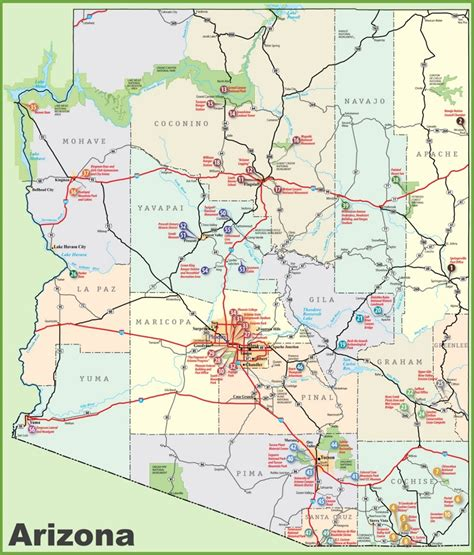 map world az arizona sightseeing map