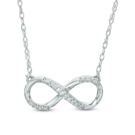 1 10 ct t w infinity necklace in sterling silver