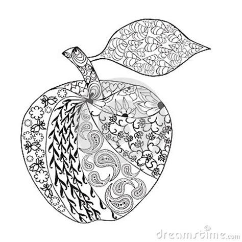 apple coloring pages for adults vector monochrome apple zentangle style for coloring book